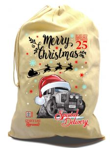X-Large Cotton Drawcord Koolart Christmas Santa Sack And Retro Land Rover Defender Twisted Image